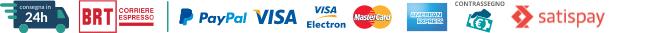 Metodi di pagamento: Paypal, Visa, Visa Electron, Mastercard, AmericanExpress, Satispay, Apple Pay, Google Pay